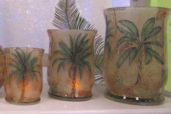 Hurricane, candle, candle holder, palm tree, palm tree candle, palm tree candle holder